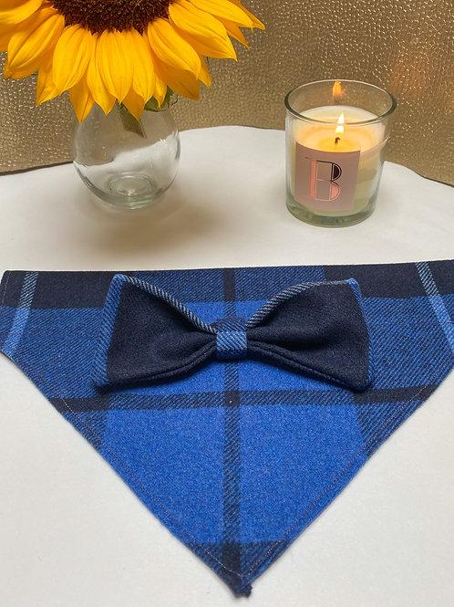Blue tartan bow and bandana