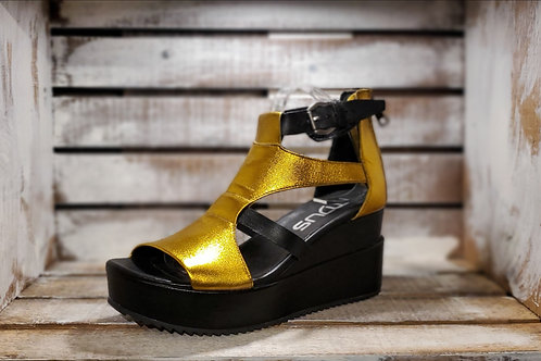 Gold+Black Metallic Platform Sandal#571
