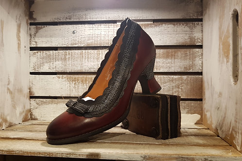 Bordeaux Mary Jane w/ Plaid Feature and Kitten Heel#86