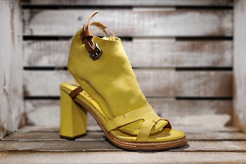#611 Women's AS98 Yellow Block Heel Sandal