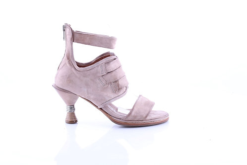 Black# Dust# Saddle# Strappy Sandal w/Back Zipper and Metal Heel