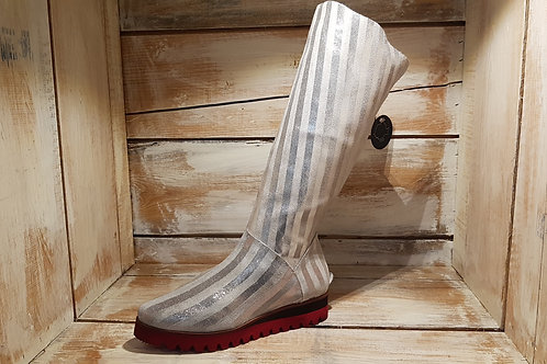 Silver Vertical Striped w/Black+Red Soled Boot#73