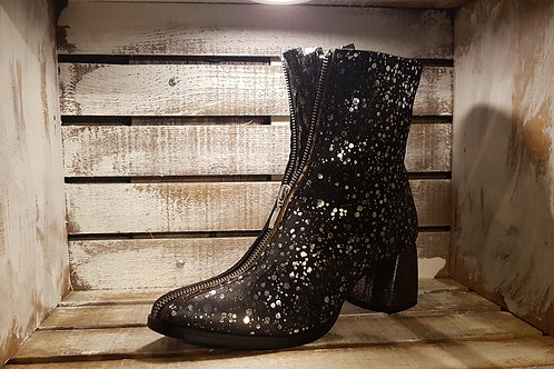 #78 Papucei Women's Black/Silver/Gold Heel Ankle Boot