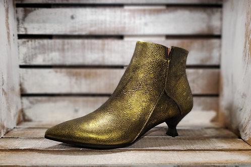 #558 MJUS Women's Gold Mettalic Kitten-Heeel Bootie