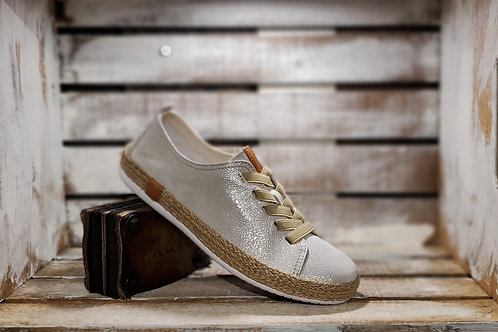 Metallic Leather Sneaker Espadrille w/ Elastic laces#643