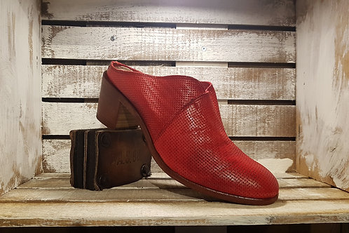 Red Peferated Block Heel Mule#17