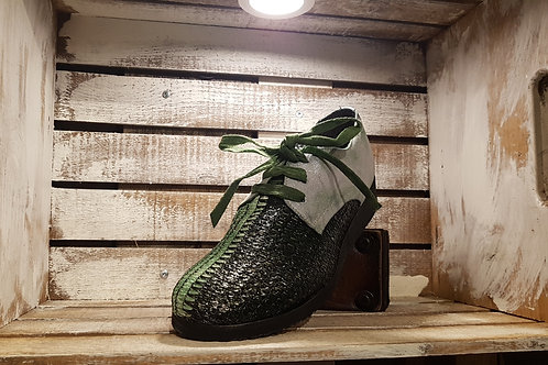 Forest+Emerald Green Waxed Weaved Straw+Leather Oxford#64