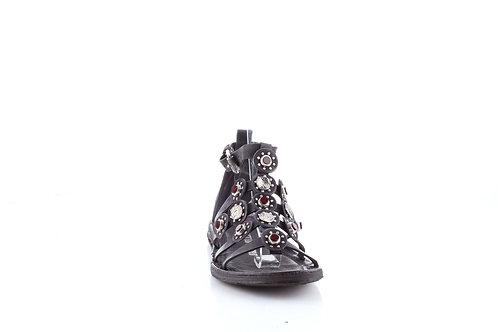 Black Ruby Bejeweled Flat Strappy Sandal