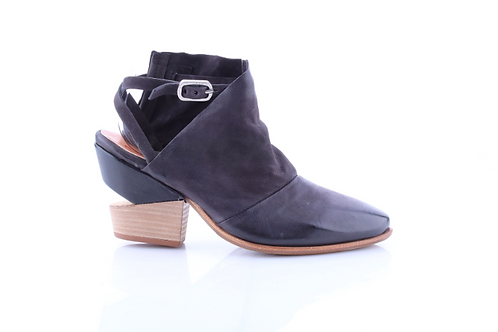 Black Cutout Ankle Boot w/Strap and Cutout Heel#