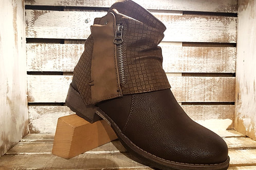 Brown Lase-Cut Hooded Boot#104