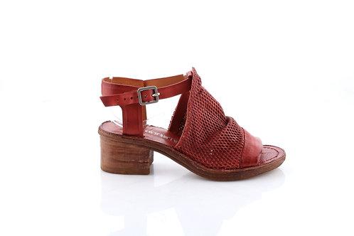 Ginger Only! Mesh Leather Block Heel Sandal