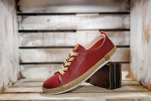 Red Leather Sneaker Espadrille w/ Elastic laces#644
