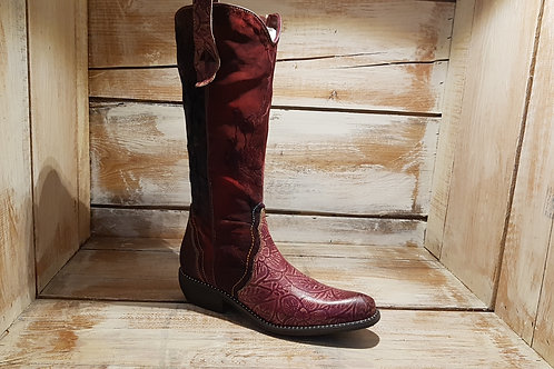 Bordeau Floral Embossed Waxed Cloth+Leather w/StuddedSole Cowboy Boot#107