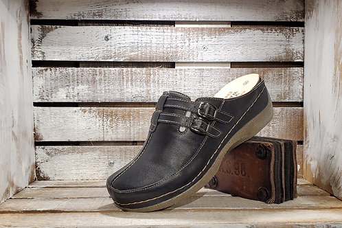 Black#628=Tan#626 Velcro Double Strap Clog