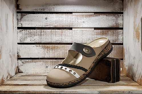 Taupe#635+Black#625 w/Braided  Strap and Metal Accent Clog