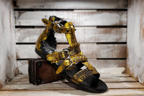 Gold Metallic Flat Gladiator #645