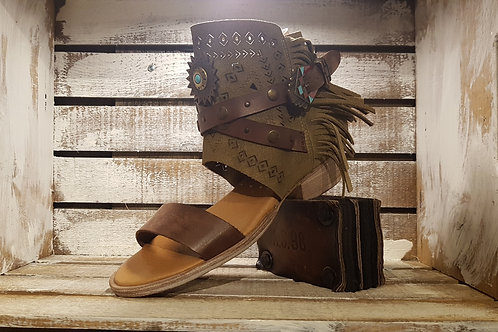 Washed Brown w/Olive Suede Aztec Featured Ankle Wrap w/Double Studded Strap#29.5