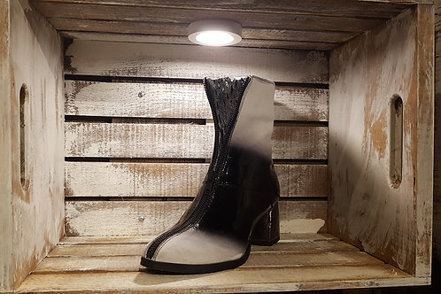 #72 Papucei Woemn's Black/White Paten Leather Heel Boot