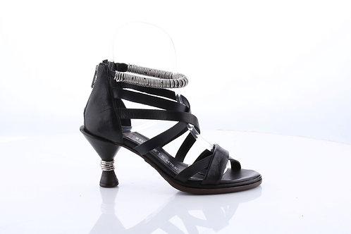 Black# Strappy Sandal w Metal Ring Detail Ankle Strap and Wrapped Metal Heel