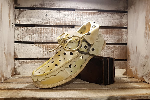 Light Green+Yellow Washed Perferated Shoe#09
