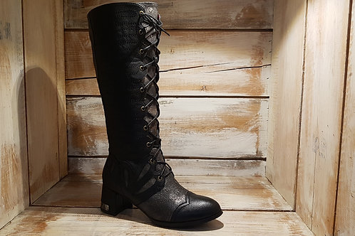 Black+Mettalic Bronze Lace-up w/Metal Detail Heel Boot