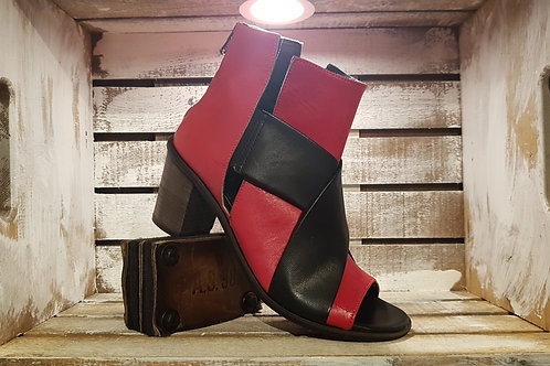 Red w/Black Double Strapping Feature Sandal Bootie#48