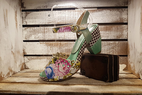 Perferated Multi Color Floral w/ Houndstooth Accents Sandal#125