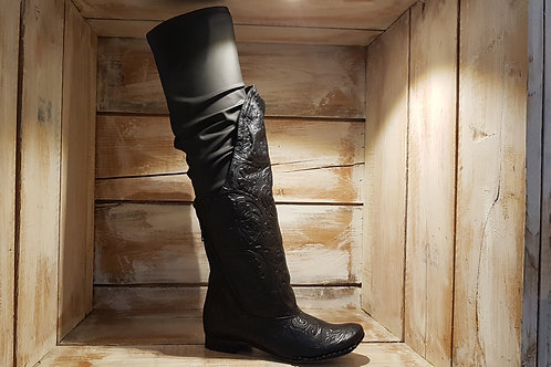 Knee High Latex w/Wired Leather Laser Floral Print Hood Boot#