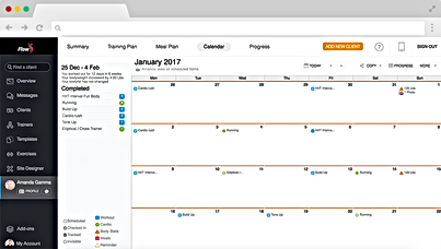 Image of example training calendar