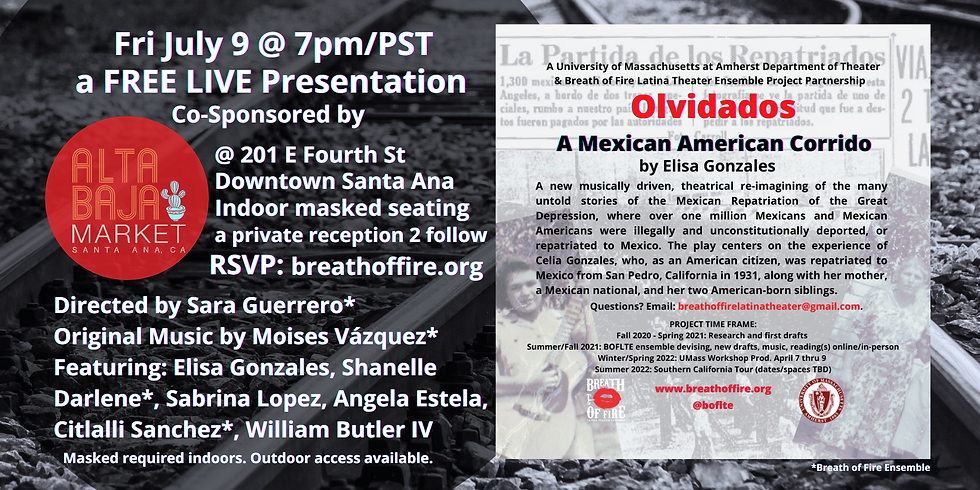 OLVIDADOS, A LIVE FREE Presentation 7/9 @ 7pm/PST