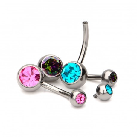 Crystal Navel Curved Barbell