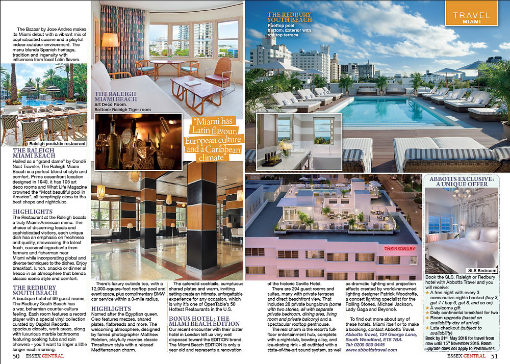 Abbotts Travel Welcome To Miami feature in Essex Central magazine