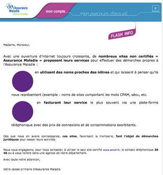 VOTRE CABINET DENTAIRE VOUS INFORME: Flash info de nombreux sites non certifiés « Assurance Maladie