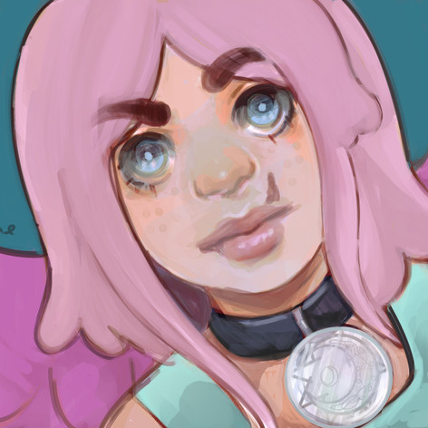 Pink hair wing girl