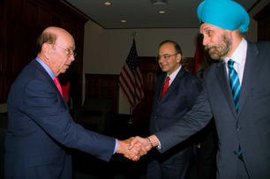 Meeting Wilbur Ross, US Commerce Secretary with then Finance Minister, Shri Arun Jaitley, Washington DC