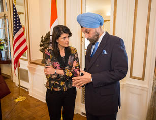 Hosting Nikki Haley at Embassy residence, 2018