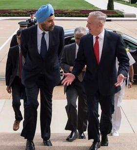 With US Secretary of Defence James Mattis at the Pentagon, Washington DC 2017