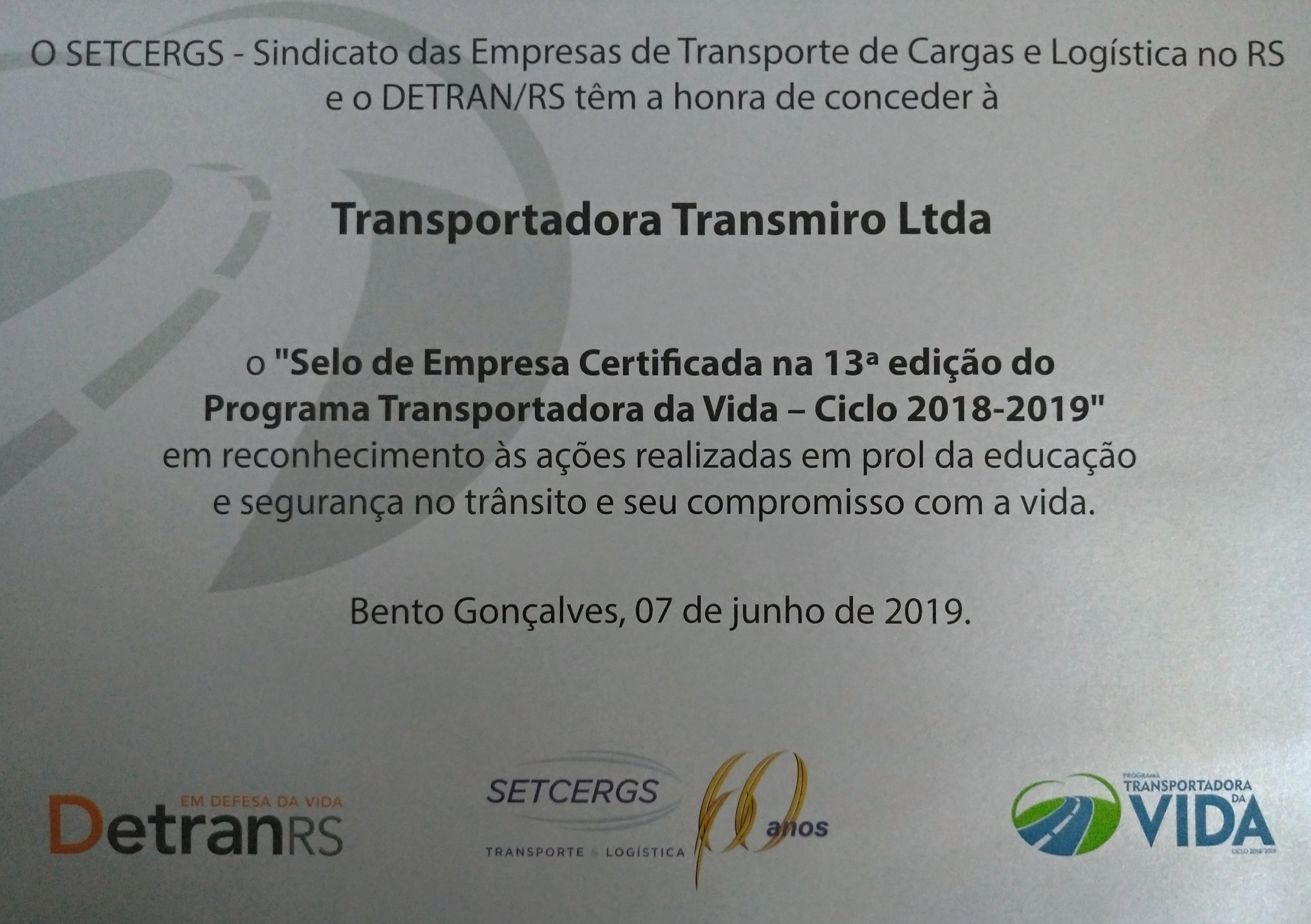 Certificado Programa Transportadora da Vida
