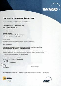 Certificado SASSMAQ