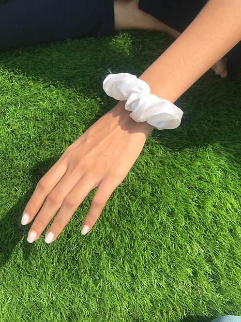 White | Satin Scrunchie