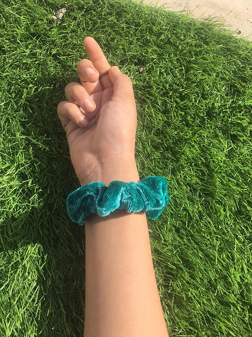 Peacock Green | Velvet Scrunchie