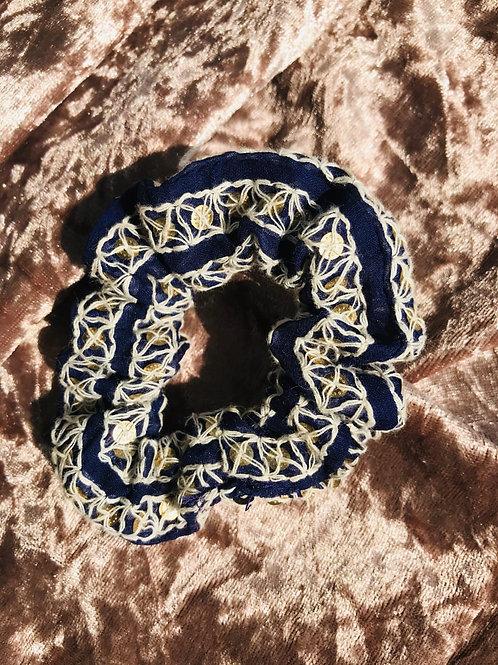 Embroidered Blue | Scrunchie