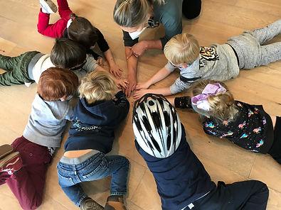 Students make a circle