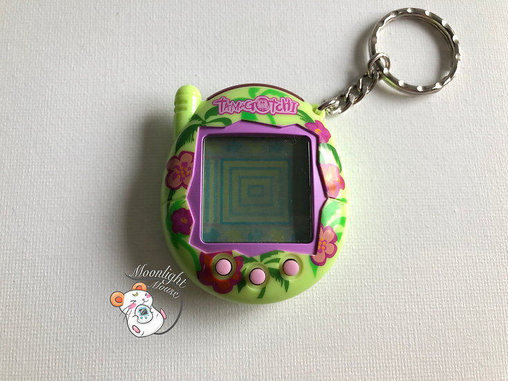 Tamagotchi Connection v3 English Green Hibiscus Flowers Shell 2005
