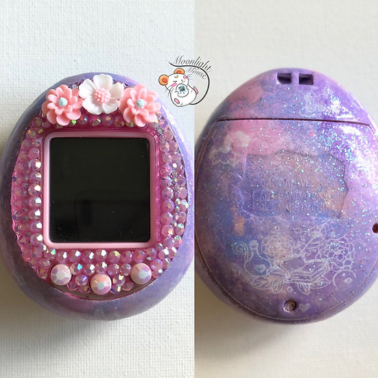 Custom Tamagotchi iD Pink Purple Flower Color Bandai Painted Rhinestone 2009
