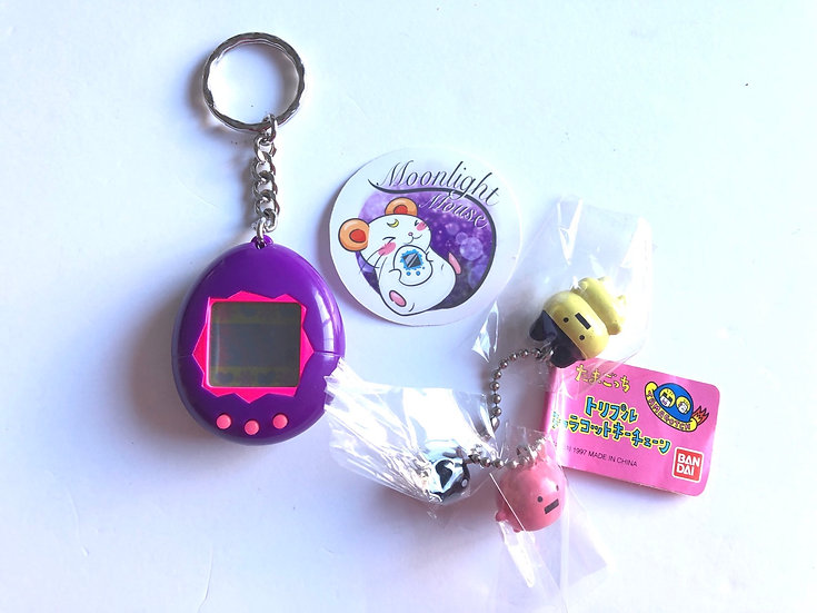 RESERVED Tamagotchi English Gen 1 P1 Purple + Mametchi Charm