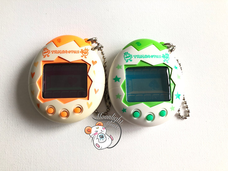 Tamagotchi Original Osutchi Mesutchi Pair Green Orange Bandai Japan 1998