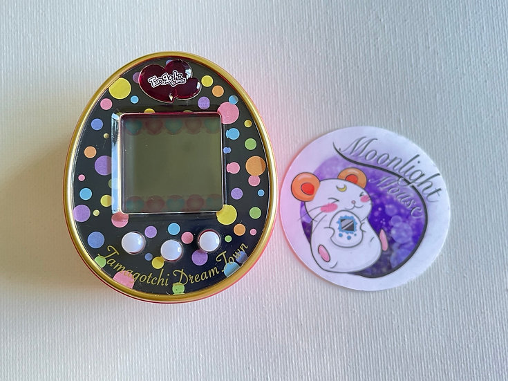 RESERVED: Tamagotchi Friends Dream Town English Black Pink Colorful Dots 2014