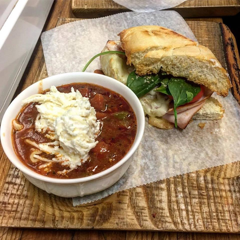 Lasagna Soup and Sandwich