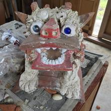 赤瓦と漆喰の昔ながらのシーサー作れます